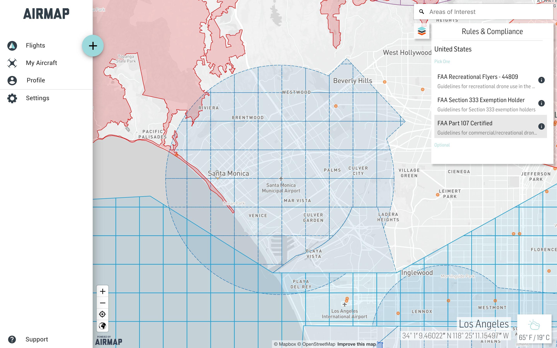 AirMap's flight planning dashboard