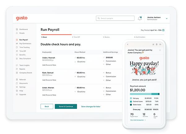 Visual of what the payroll feature looks like