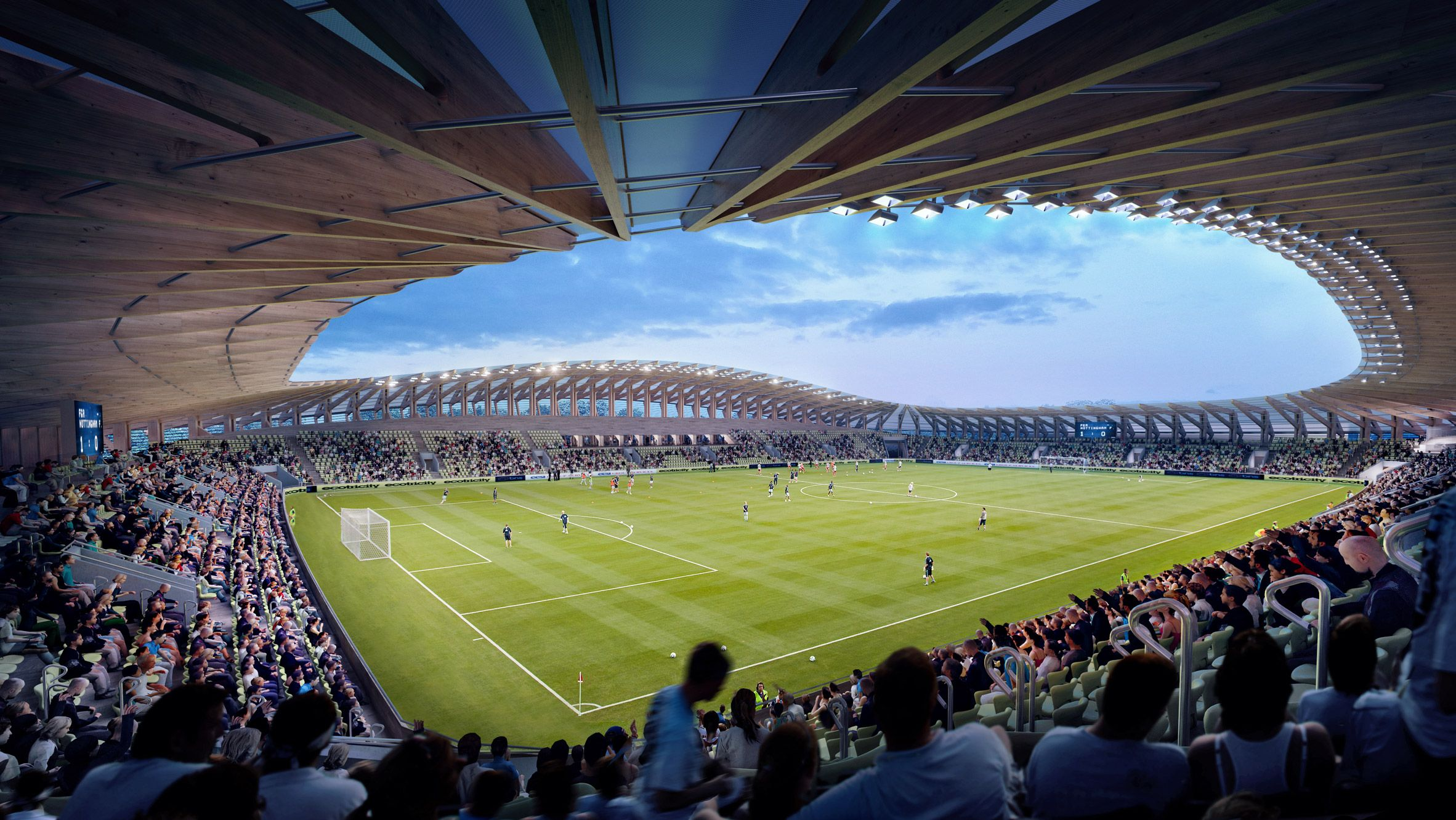 World's first timber football stadium