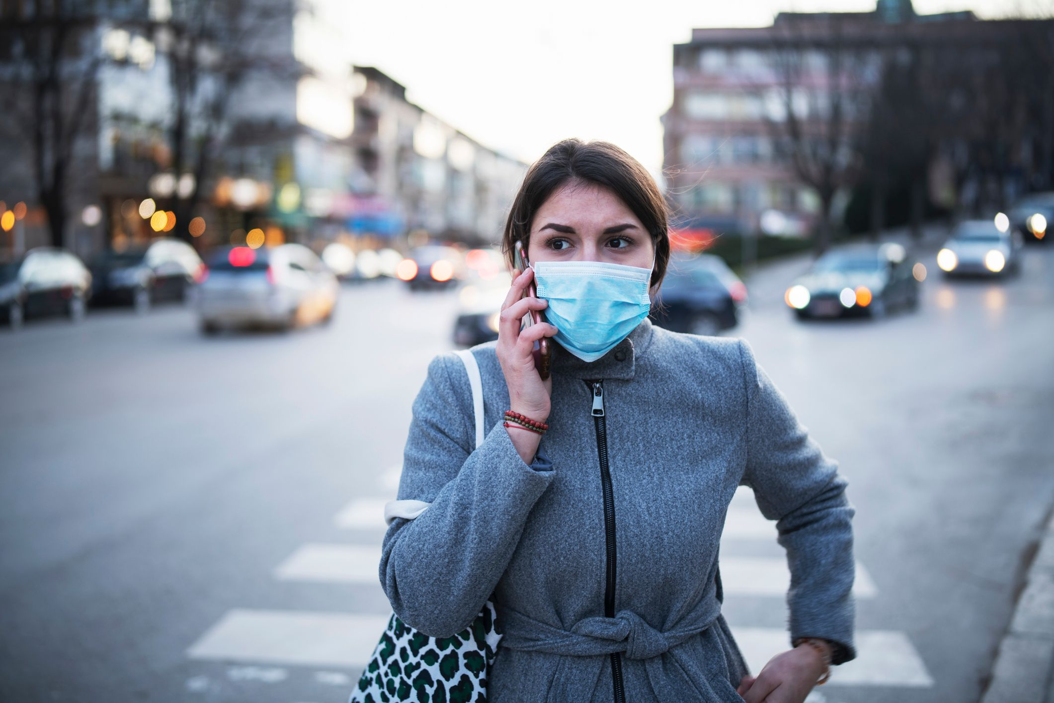 Lady with medical mask on